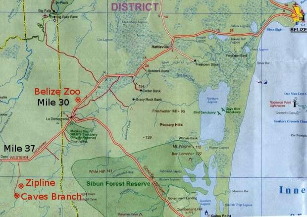 Map to Belize Zoo Zipline and Cavetubing